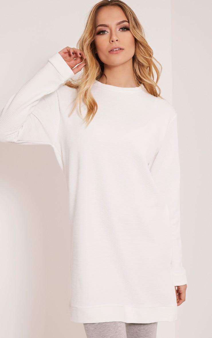 Melonie Cream Ribbed Longline Sweater 1