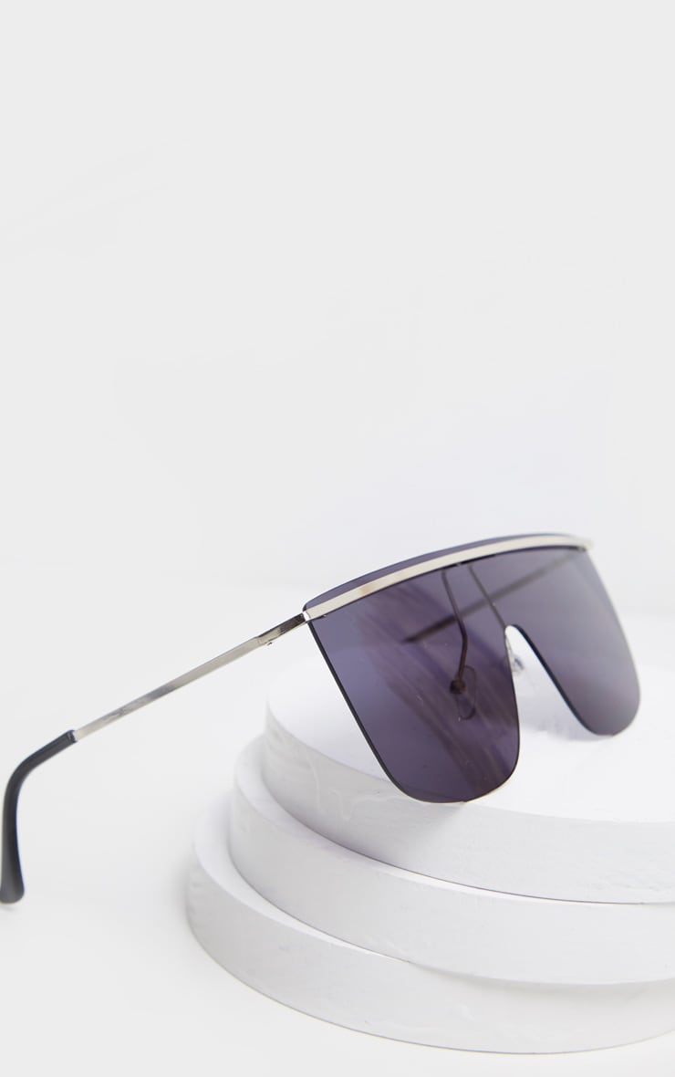 Black Tinted Silver Brow Bar Sunglasses 3