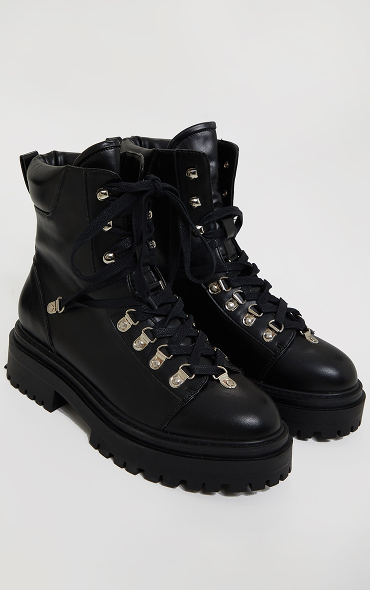 Black Pu Lace Up Chunky Hiker Boot 2