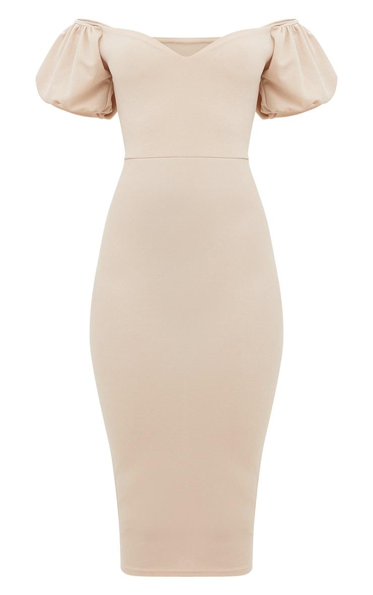 Stone Balloon Sleeve Bardot Midi Dress 2
