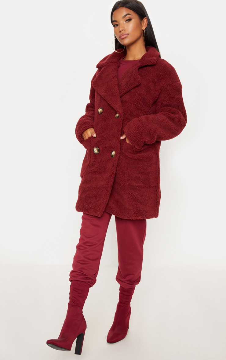 Burgundy Borg Midi Coat  4