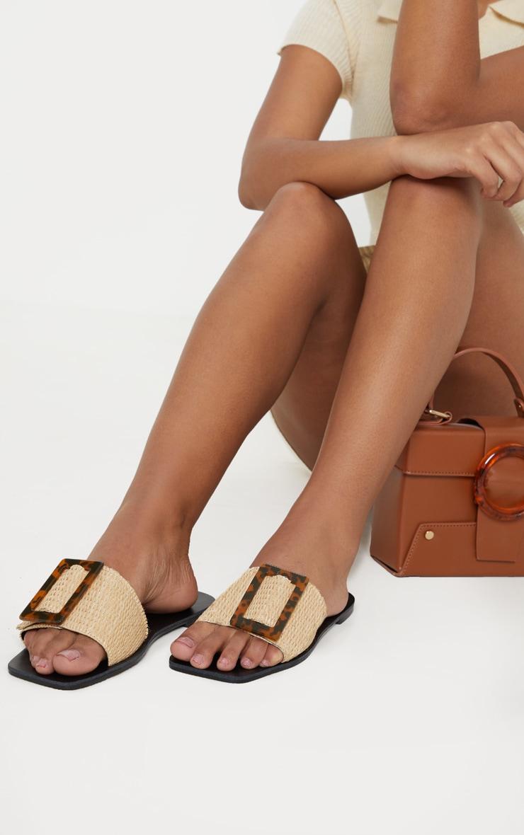 Raffia Buckle Mule Sandal 1