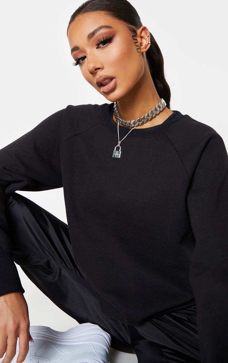 Black Basic Crew Neck Sweater 5