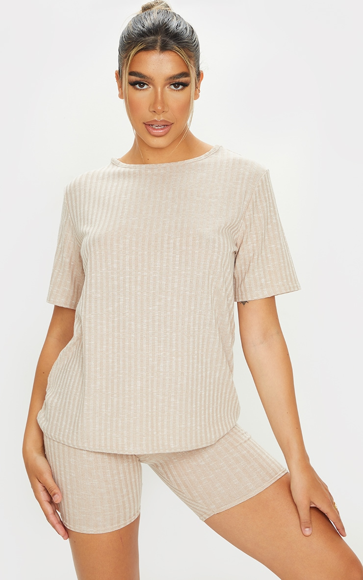 Oatmeal Oversized Knitted Tee And Short Set 1
