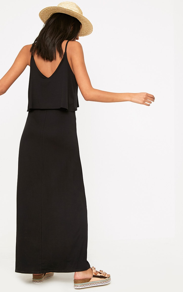 Black Jersey Double Layer Maxi Dress 2