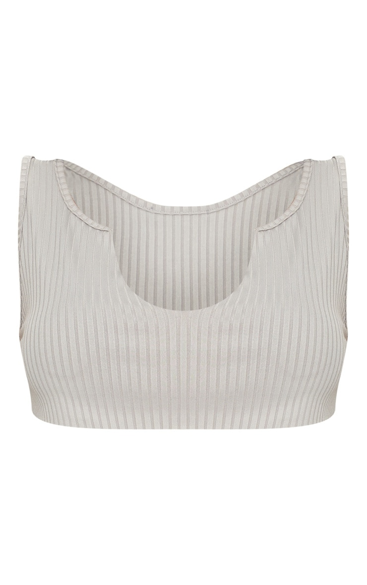 Grey Rib Deep V Raw Edge Crop Top  3