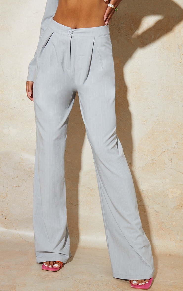 Light Grey Wide Leg Woven Pleated Detail Trousers 2