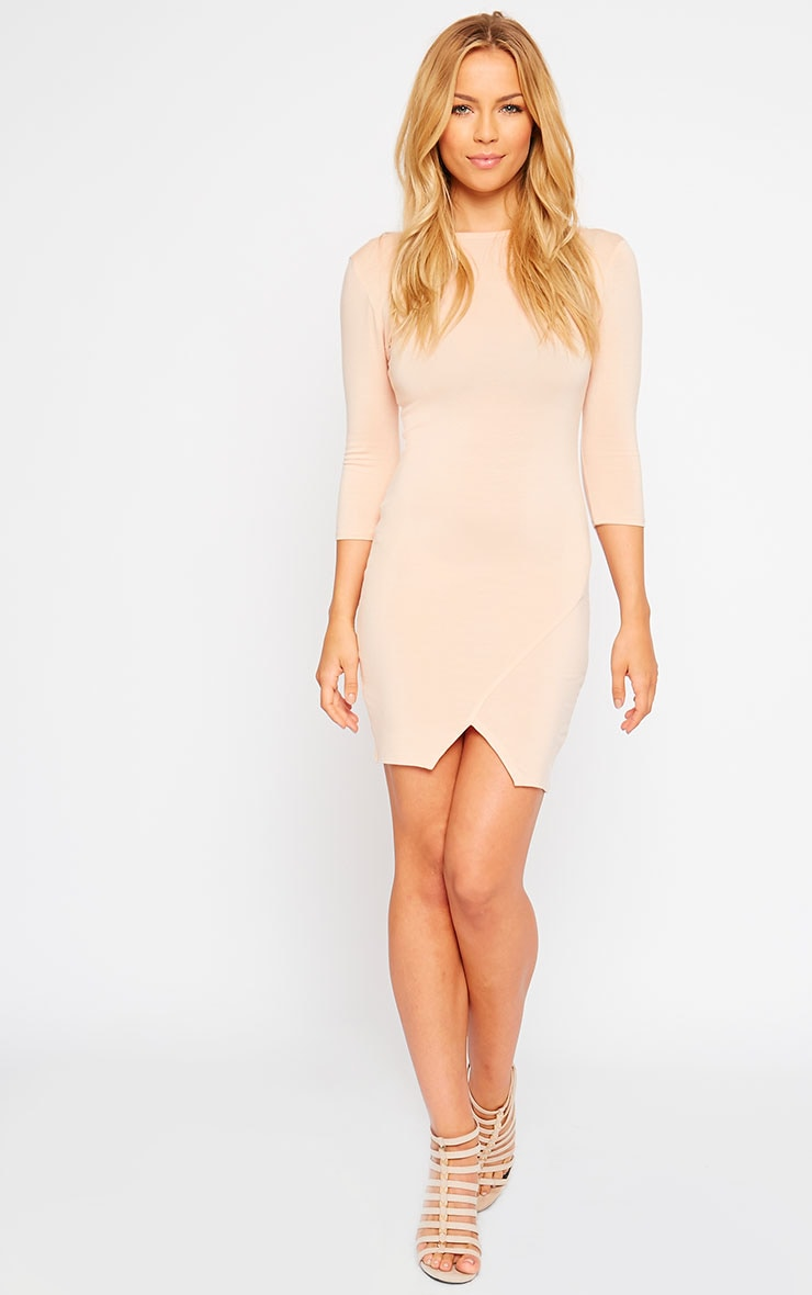 Basic Nude Scoop Back V Hem Dress 3
