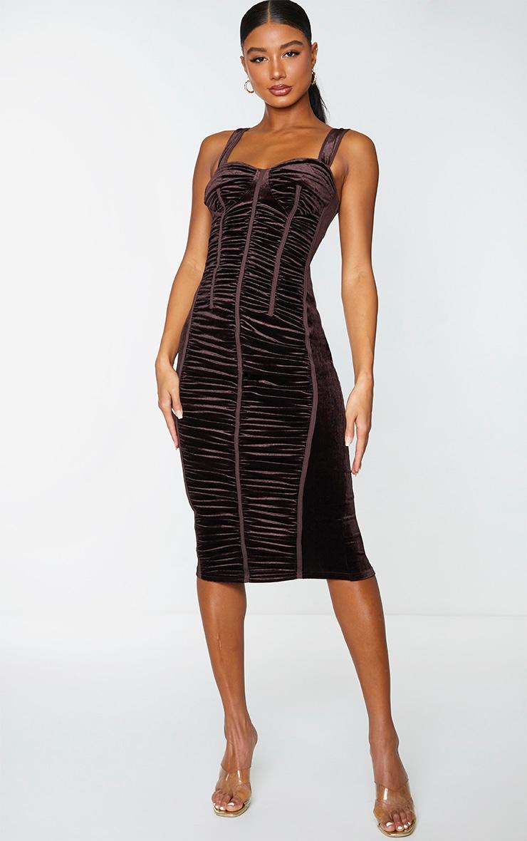 Chocolate Velvet Ruched Corset Detail Sleeveless Midi Dress 1