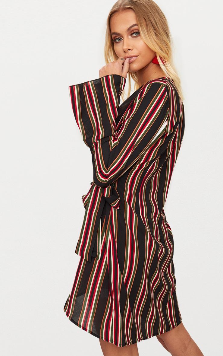 Khaki Striped Wrap Detail Long Fluted Sleeve Bodycon Dress 2