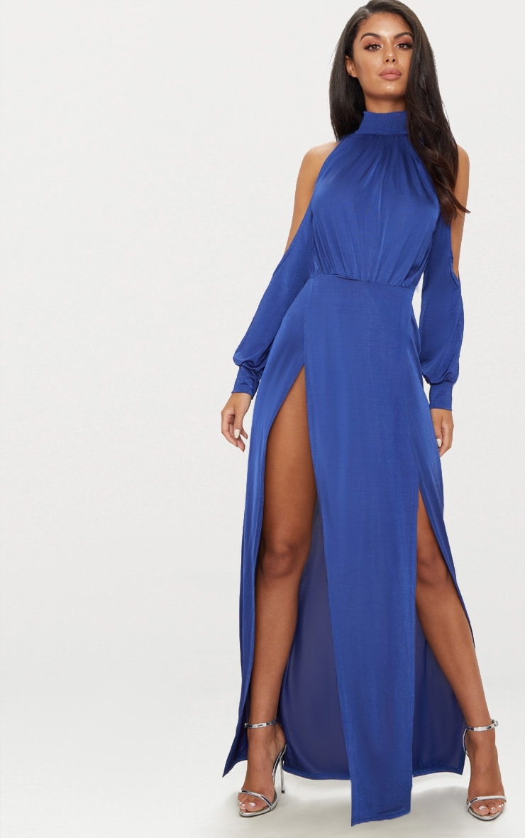 Navy High Neck Double Extreme Split Maxi Dress 1