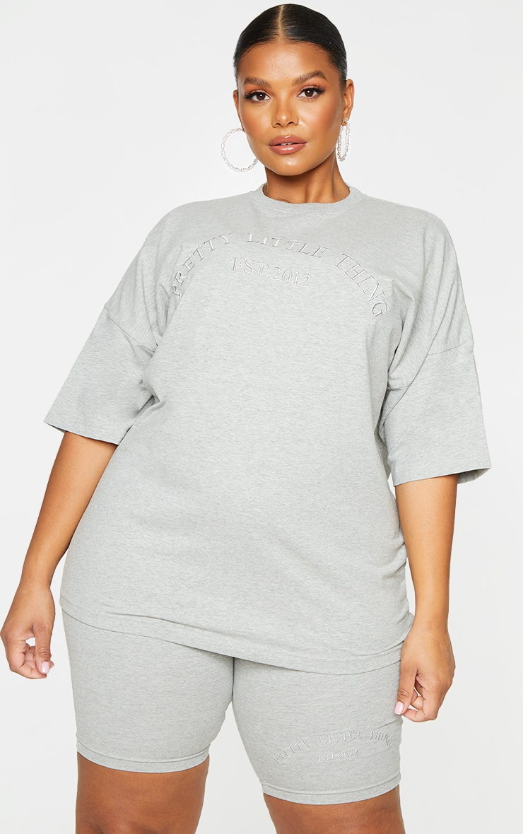 Plus Grey Embroidered Oversized Cycle Shorts 4