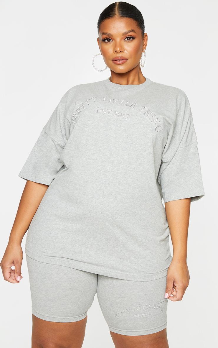 Plus Grey Embroidered Oversized Bike Shorts 4