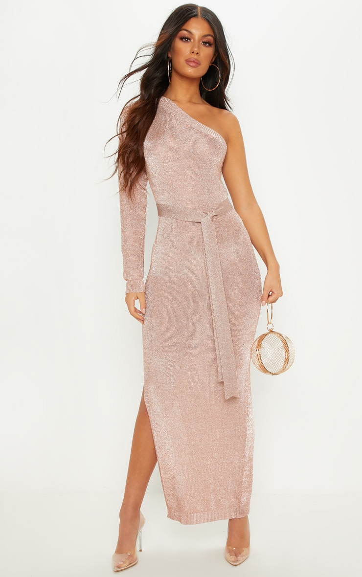 Rose Gold One Shoulder Metallic Knitted Dress 1