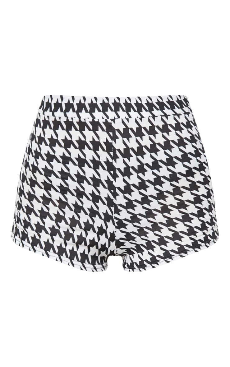 Black Dogtooth Jersey High Waisted Short 3