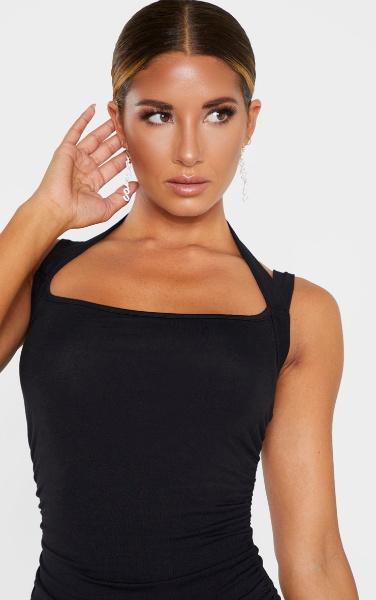 Black Multi Strap Sleeveless Ruched Bodycon Dress 5