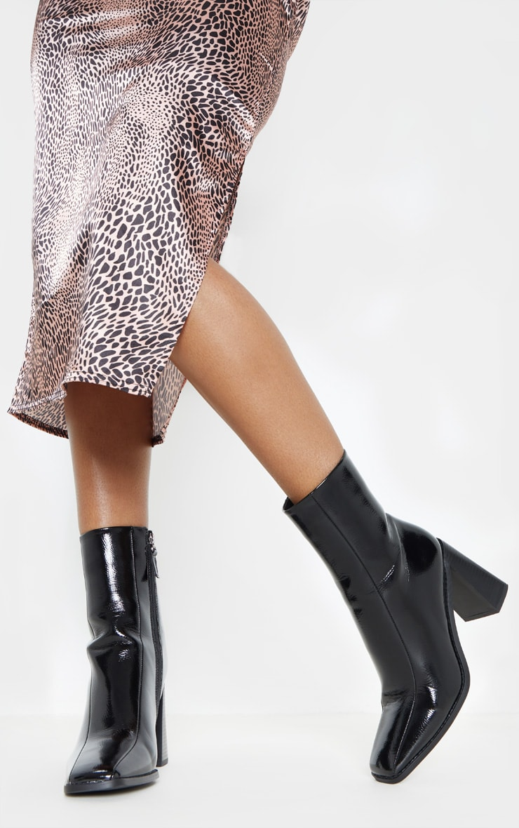 Black Square Toe Block Heel Ankle Boot 2