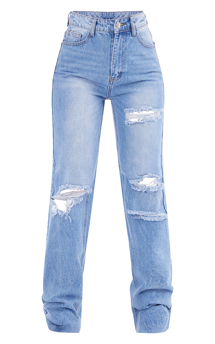 PRETTYLITTLETHING Mid Blue Wash Ripped Long Leg Straight Jeans 5