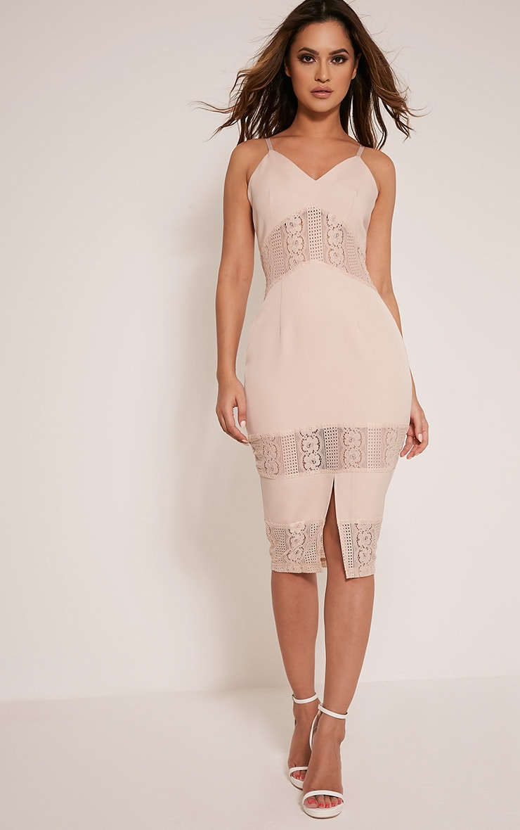 Nicky Nude Strappy Lace Panel Midi Dress 1