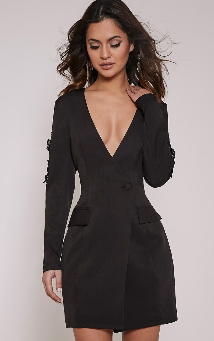 Sabella Black Applique Detail Blazer Dress 1