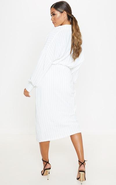 White Pinstripe Midi Shirt Dress