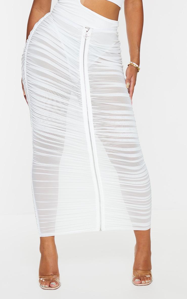 Shape Cream Branded Trim Ruched Mesh Midaxi Skirt 2