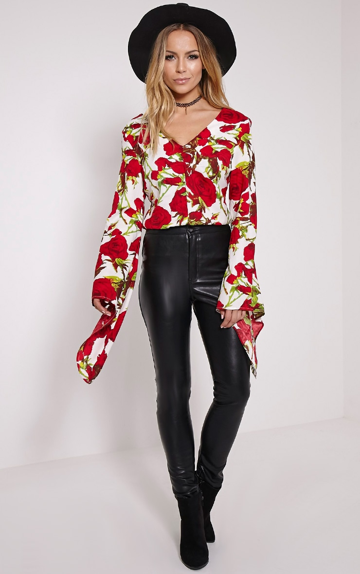 Harita Red Rose Extreme Flare Sleeve Blouse 3