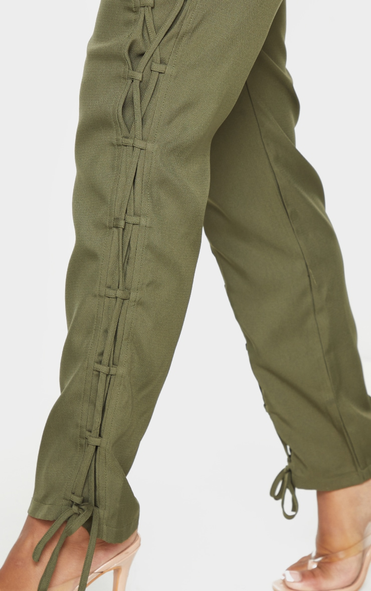 Shape Khaki Lace Up Detail Skinny Pants 4