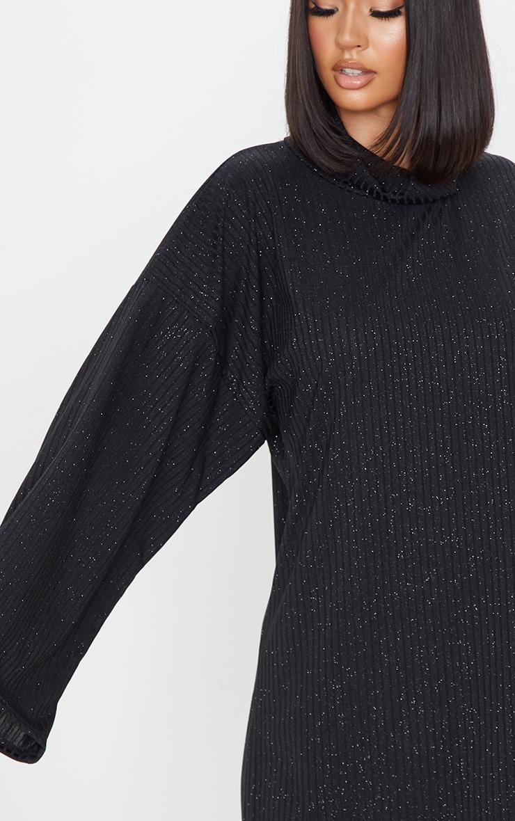 Black Glitter Rib Roll Neck Flare Sleeve Jumper Dress 4