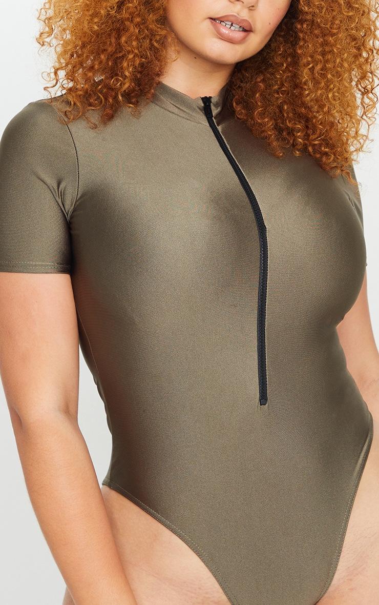 Plus Khaki Zip Detail High Neck Swimsuit 4