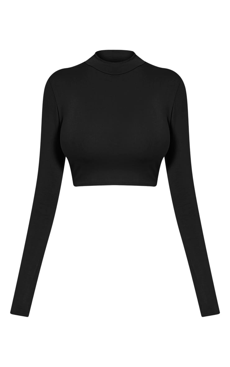 Ariana Black Long Sleeve Crop Top 3