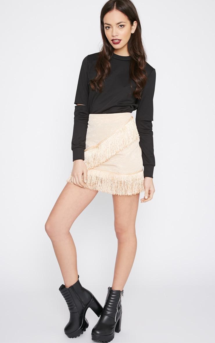 Yasmine Champagne Tassel Mini Skirt  5