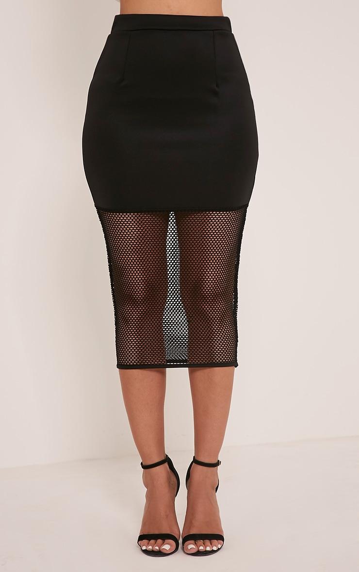 Lina Black Fishnet Hem Midi Skirt 2