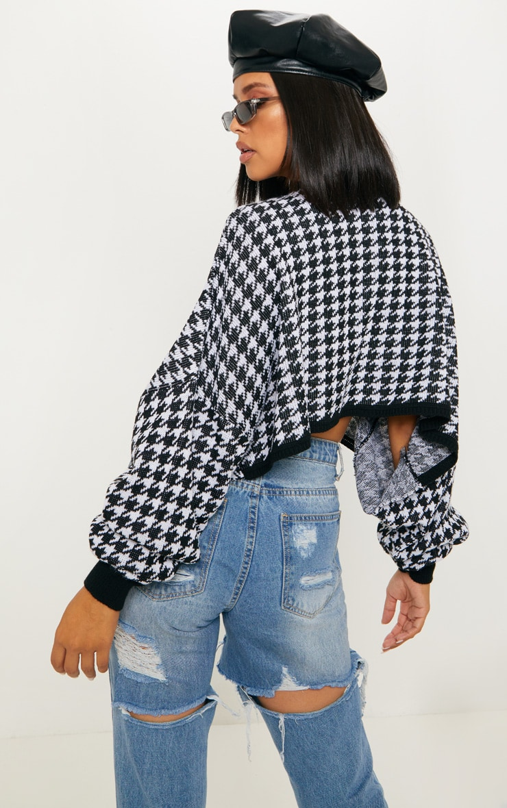 Mono Knitted Dogtooth Crop Jumper 2