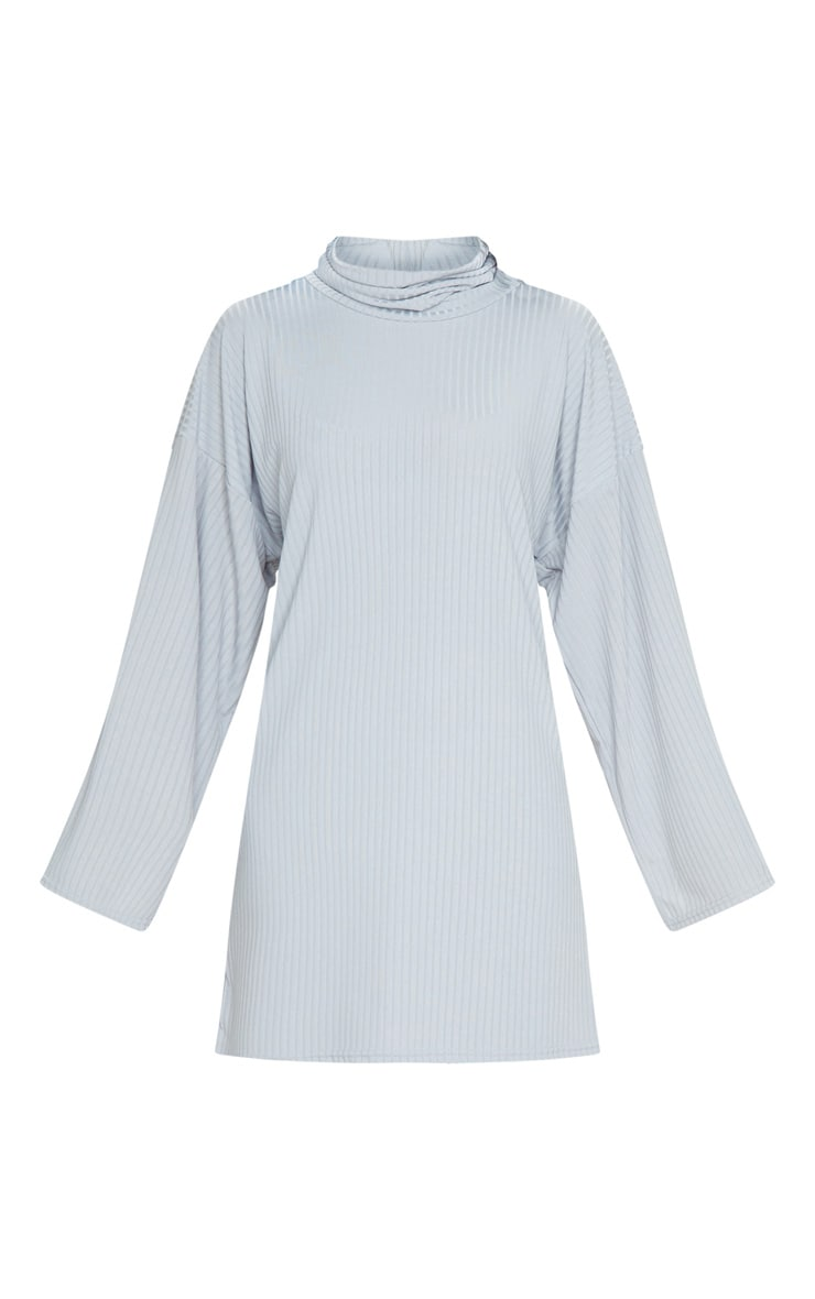 Grey Rib Flare Sleeve Jumper Dress 5