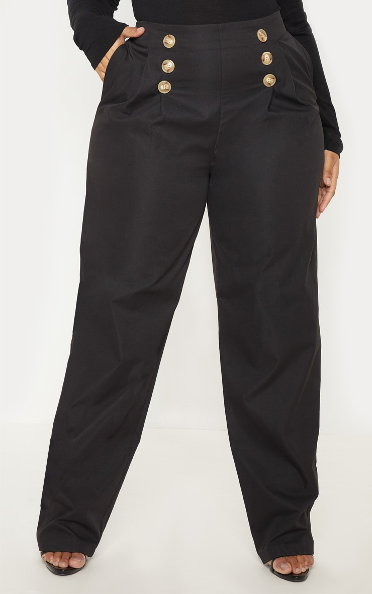 PLT Plus - Pantalon ample noir à détail boutons et pli 2