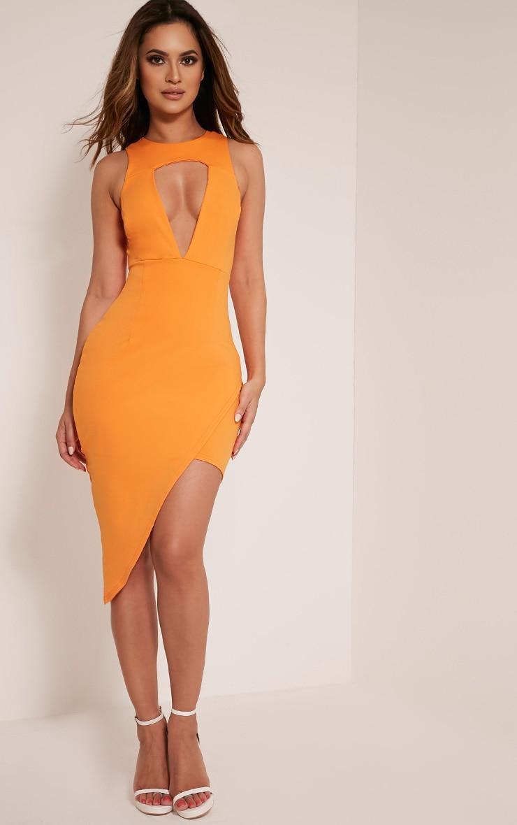 Eron Bright Orange Cut Out Plunge Asymmetric Mini Dress 1