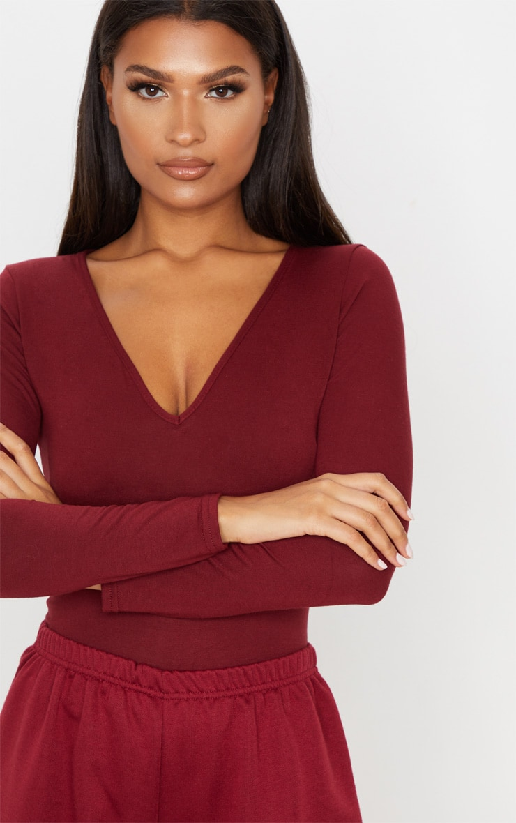 Basic Burgundy V Neck Long Sleeve Jersey Thong Bodysuit 7