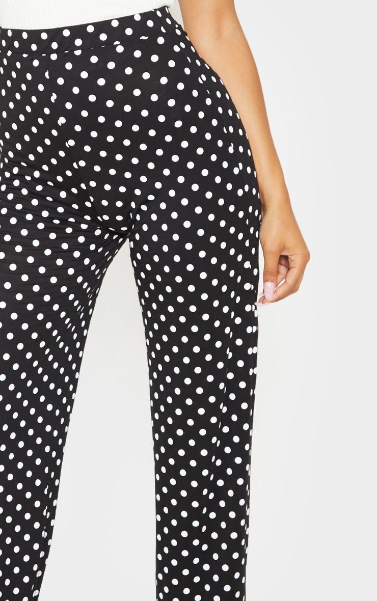 Black Polka Dot Basic Wide Leg Pants 5