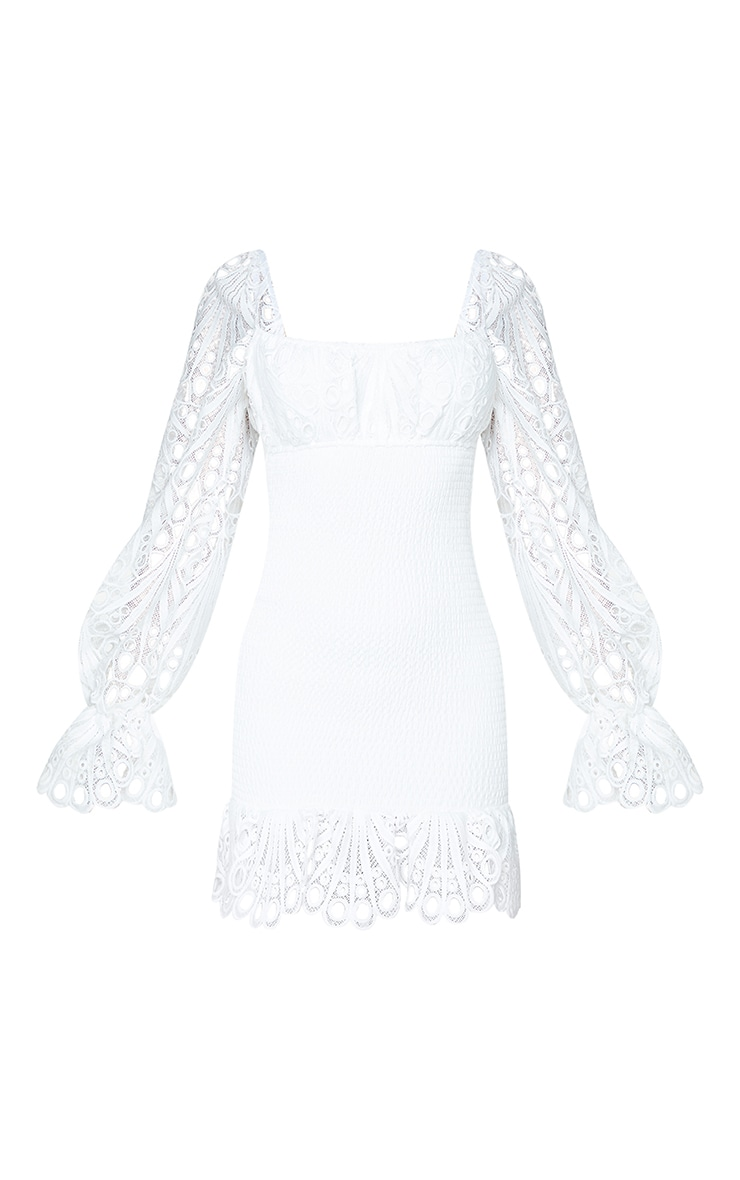 White Lace Sleeve Shirred Bodycon Dress 5