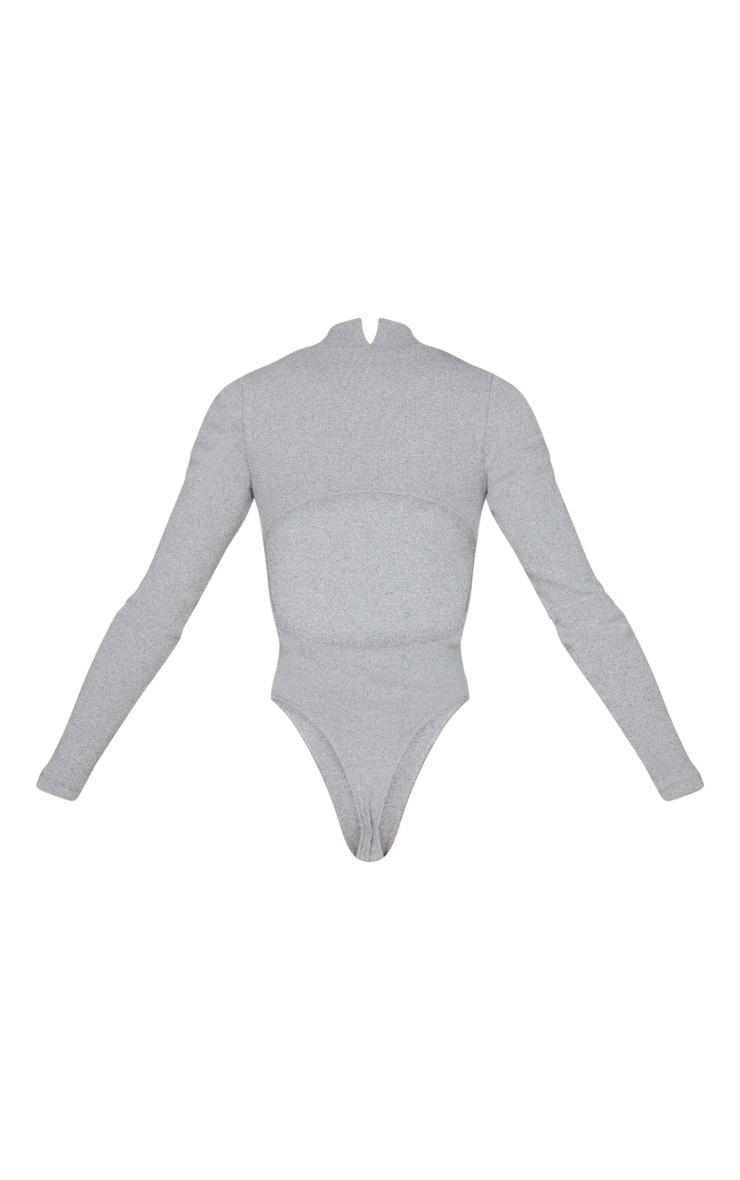 Grey Open Back Rib Bodysuit 6