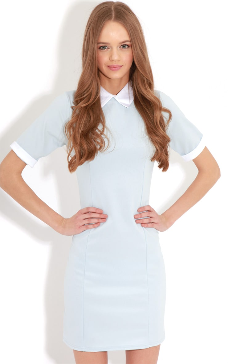 Eileen Baby Blue Collar Dress 4