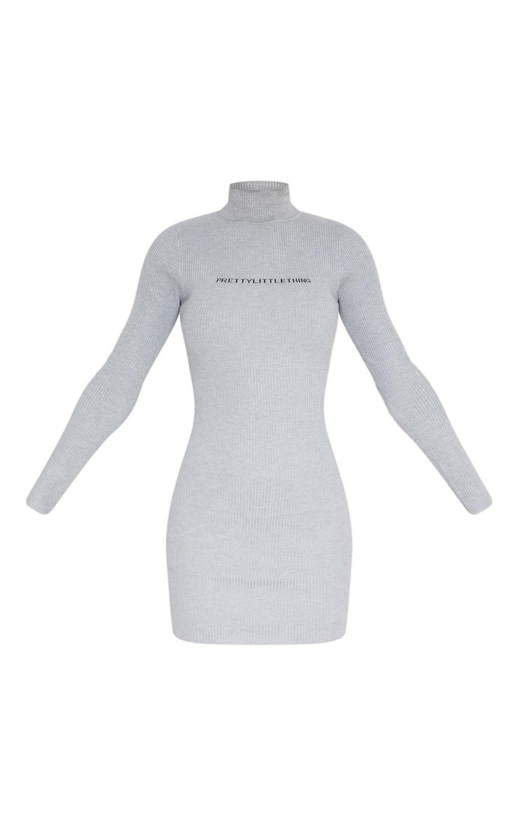 PRETTYLITTLETHING Grey Rib Knitted Bodycon Dress 6