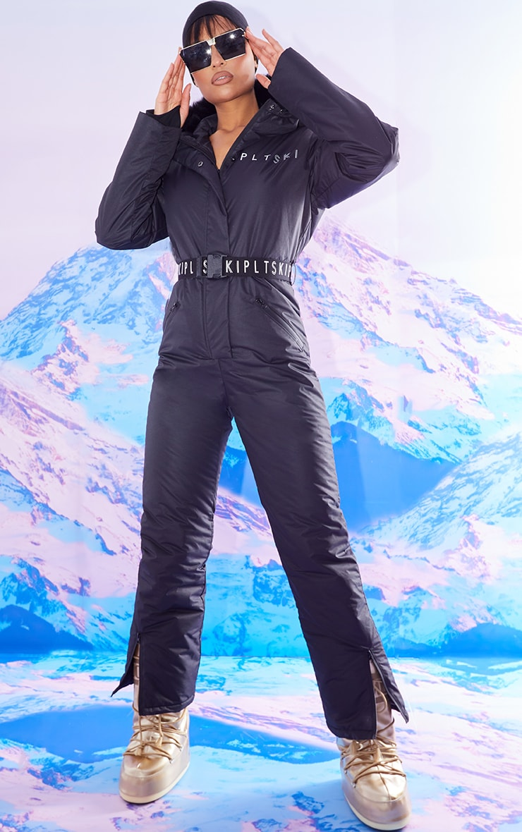 PRETTYLITTLETHING SKI BLACK FAUX FUR HOODED BELTED SNOW SUIT