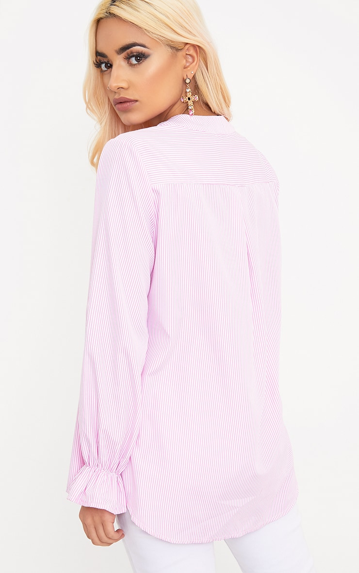 Linette Pink Embroidered Stripe Shirt 2