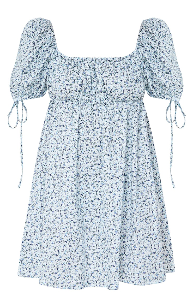 Blue Ditsy Floral Puff Tie Sleeve Shift Dress 5