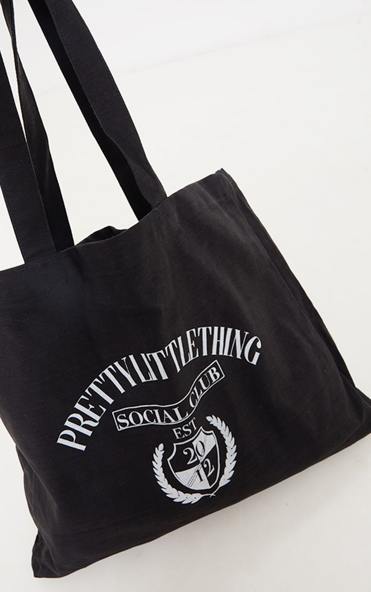PRETTYLITTLETHING Black Social Club Tote Bag 4