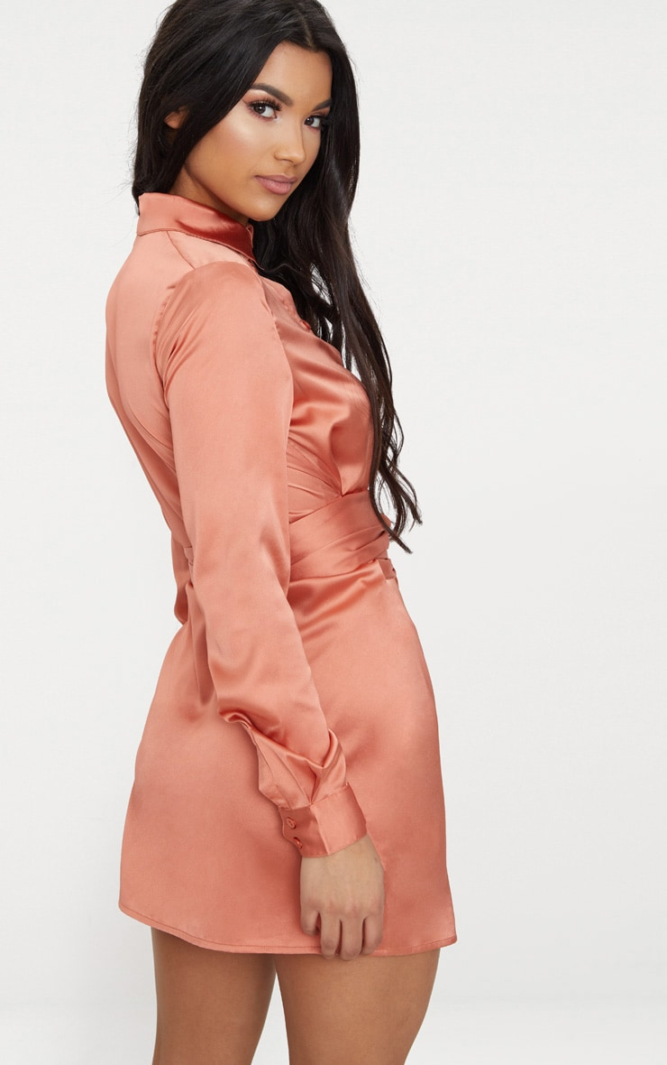 Copper Satin Tie Waist Shirt Dress 2