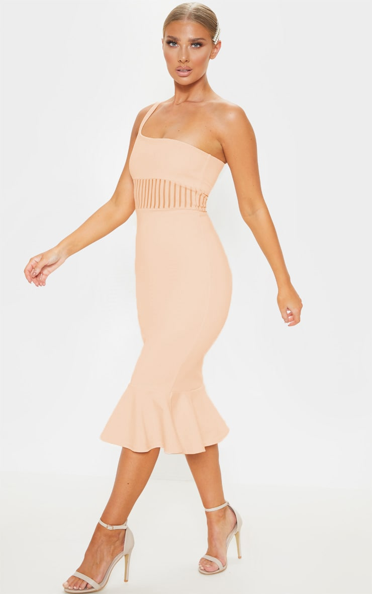 Robe moulante nude à bretelle unique et empiècement mesh 4