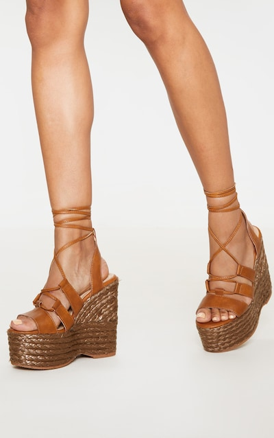 Tan High Espadrille Wedge